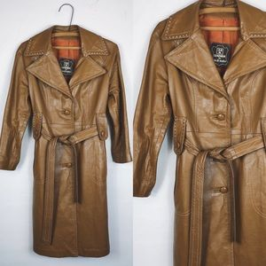 Vintage • 70s Genuine Leather Belted Trench Coat